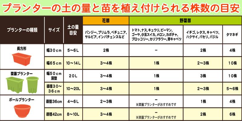 プランターの土の量と植え付けられる苗数